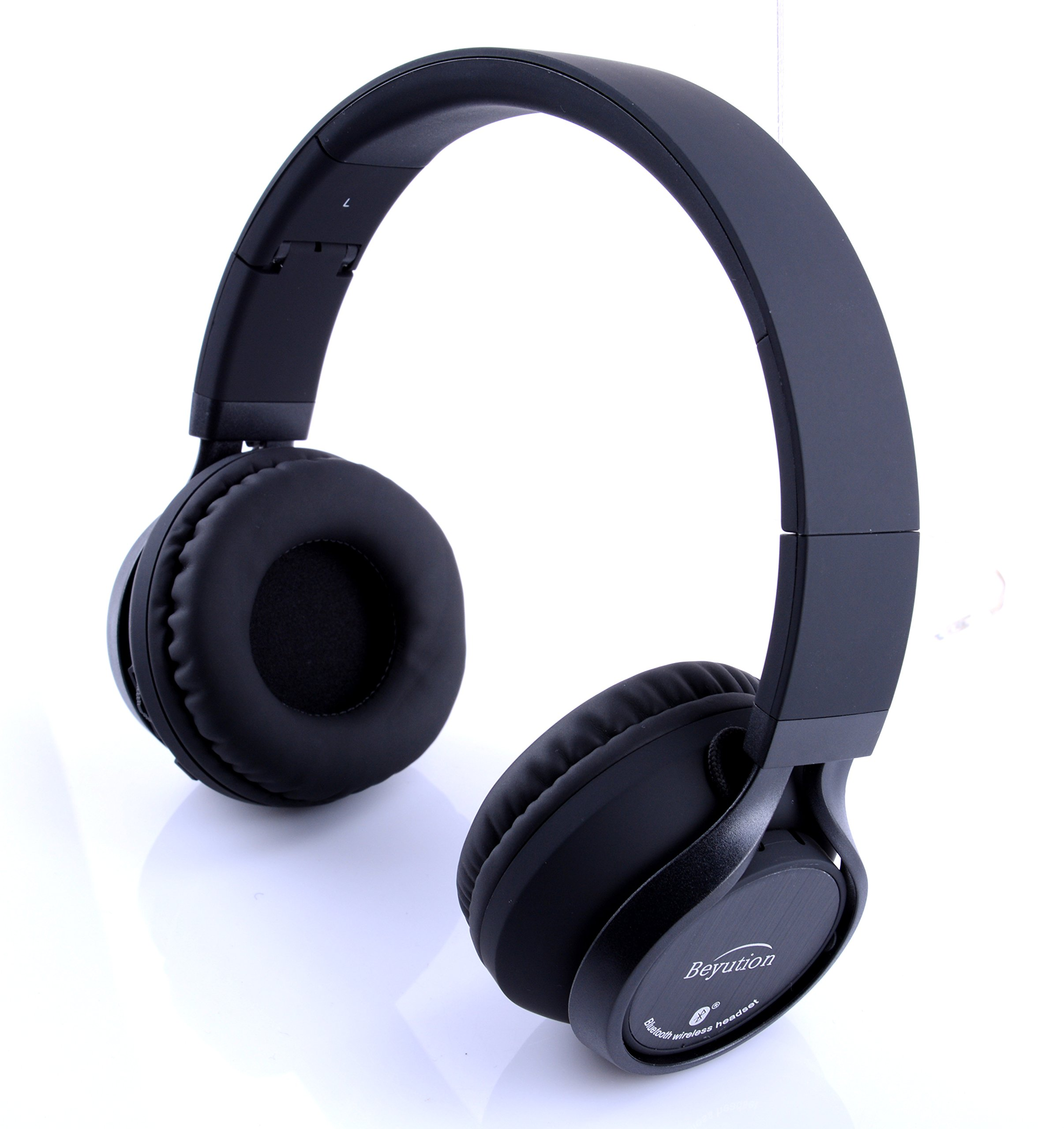 Beyution Black Metal Wireless Bluetooth Headsets Over Ear Bluetooth Headphones with Mic for iPhone 8 X Samsung Smart Phones and All Tablet Laptop with Bluetooth Funcstion (BT525-Black-Metal) by Beyution (Image #2)