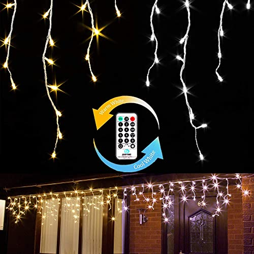 Icicle Lights,600 LEDs 49.2Ft String Lights 9 Modes Brightness Adjustment with Remote 3 Timing Options Two Color Changing for Christmas Birthday Wedding Party Decorations Warm White Cool White