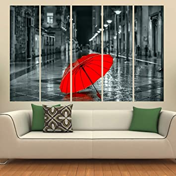 Kyara Arts Multiple Frames Beautiful Red Umbrella Modern Art Wall Painting For Living Room Bedroom Office Hotels Drawing Room Wooden Framed Digital Painting 50inch X 30inch Amazon In Home Kitchen