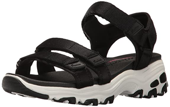 Skechers Cali Women's D'Lites-Fresh Catch Wedge Sandal,Black,8 M US