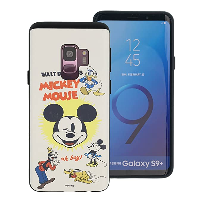 online retailer dfee2 a16bd Galaxy S9 Plus Case, Disney Cute Layered Hybrid [TPU + PC] Bumper Cover  [Shock Absorption] for Samsung Galaxy S9 Plus - Vintage Disney Family