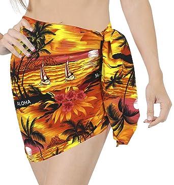 f5056f8f6c LA LEELA Likre Nightwear Pareo Lungi Women Sarong Printed 72 quot X21 quot   Orange 452
