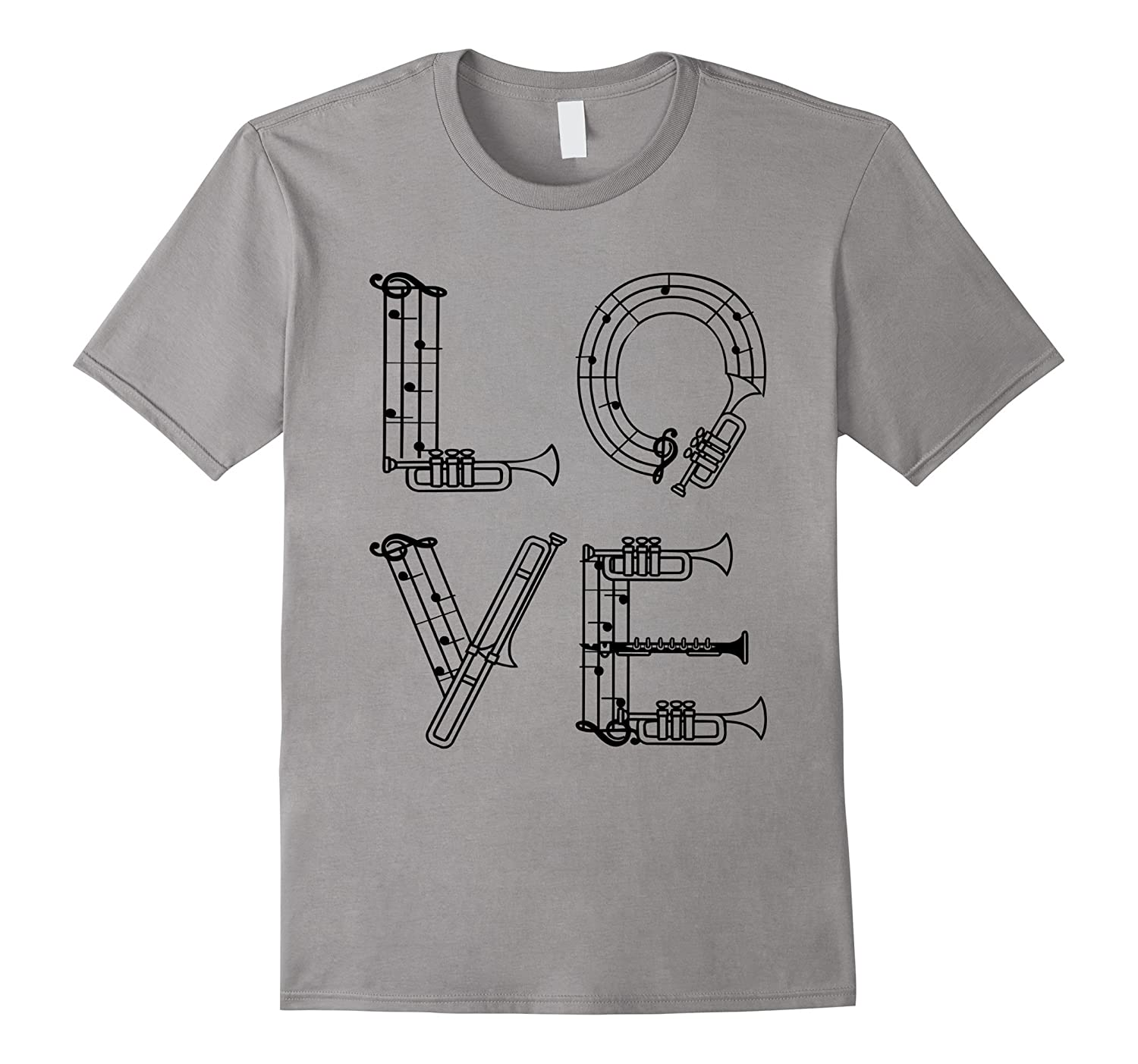 Love Music T-Shirt Musical Instrument Notes Clef Graphic Tee-Vaci