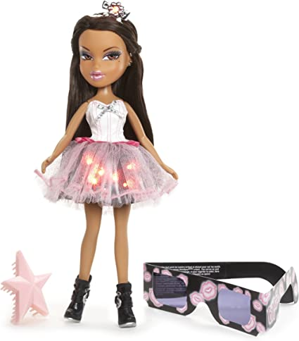 Bratz Funk N Glow Doll Yasmin Light Up Party Dress 3D Glasses Tiara Purse NEW
