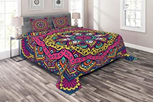 Ambesonne Mandala Coverlet, Lively Colored Abstract Motif Inspired by Cultures Floral of Cosmos, 3 Piece Decorative Quilted Bedspread Set with 2 Pillow Shams, Queen Size, Pink Navy