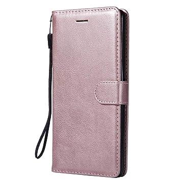 DENDICO Funda Sony Xperia XA Ultra, Flip Libro Cuero Carcasa, Diseño Clásico Funda Plegable Cover para Sony Xperia XA Ultra - Rosa