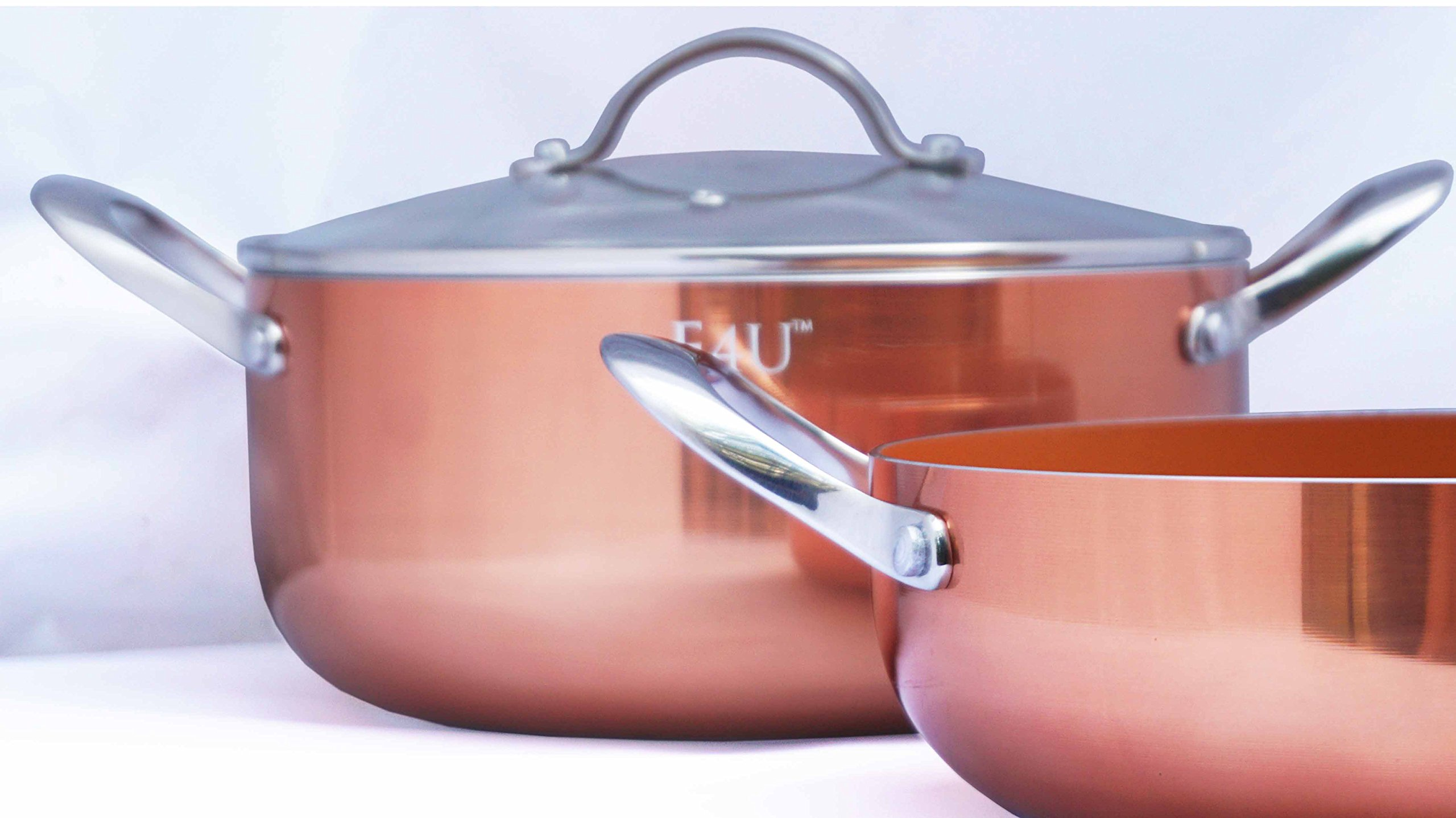 Copper Kitchen Dutch Oven - Ceramic Copper Induction Bottom Pots - Three Piece Deep Dish Casserole