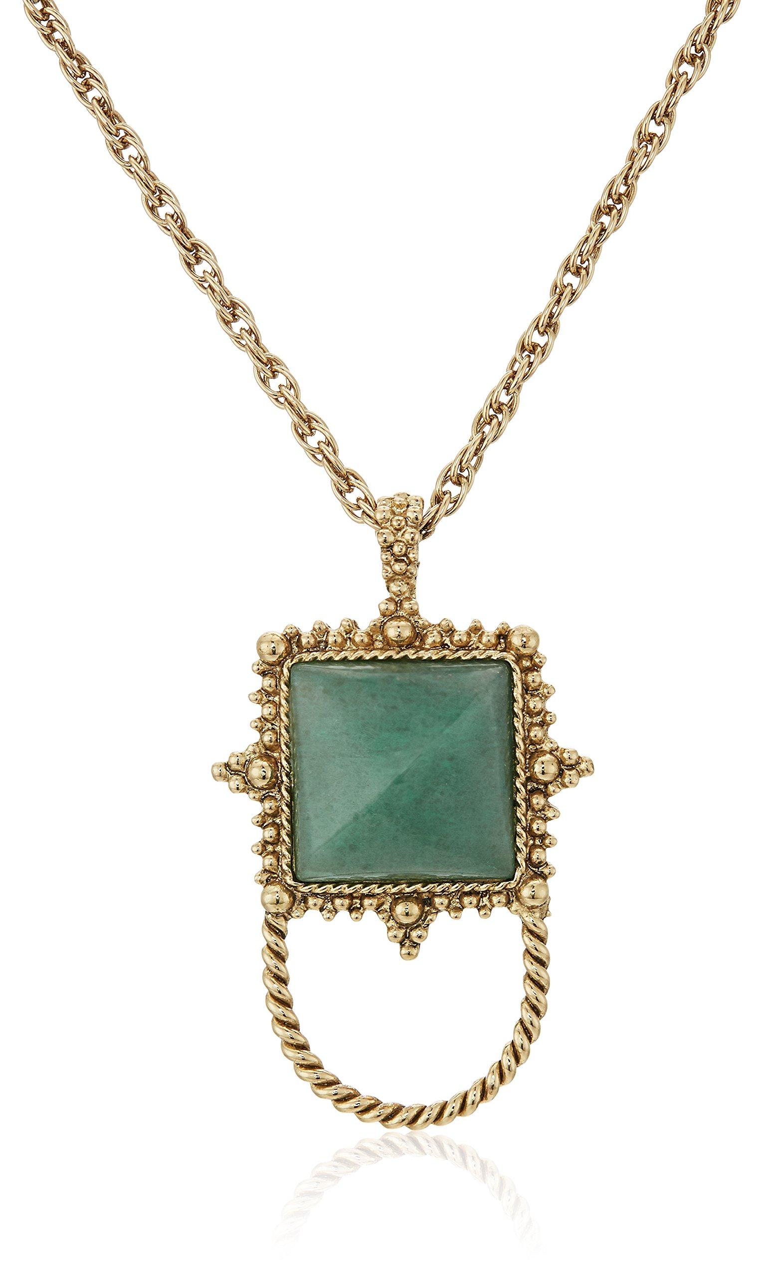 1928 Jewelry Womens Gold-Tone Semi-Precious Aventurine Square Eyeglass/Badge Holder Pendant Enhancer, green, 30