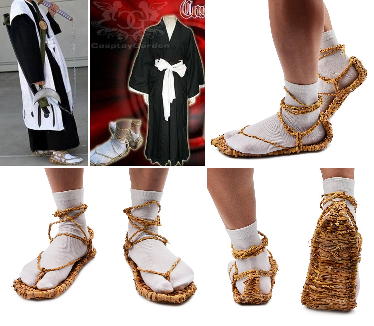 Straw Sandals with 2 Pairs Tabi Socks for Bleach Cosplay XL by Party Chili (Image #4)