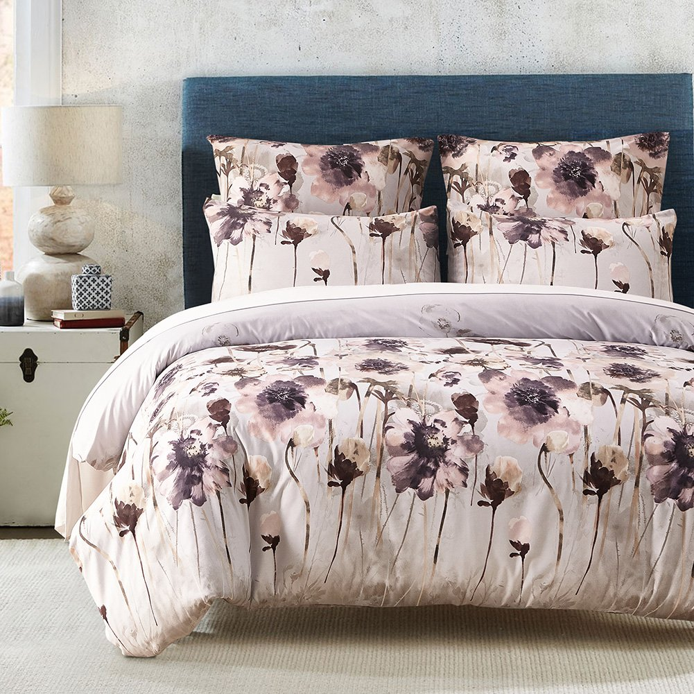 LOVE(TM)Lightweight Ultra Soft Brushed Microfiber Duvet Cover Set, Colorful Floral Print Pattern, Light Purple Multi-Color-Queen Size