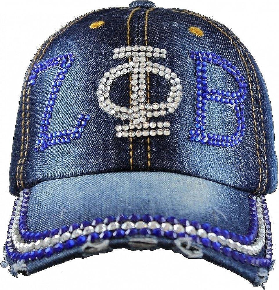 Denim Blue - Adjustable Zeta Phi Beta Distressed Denim Rhinestone Ladies Cap