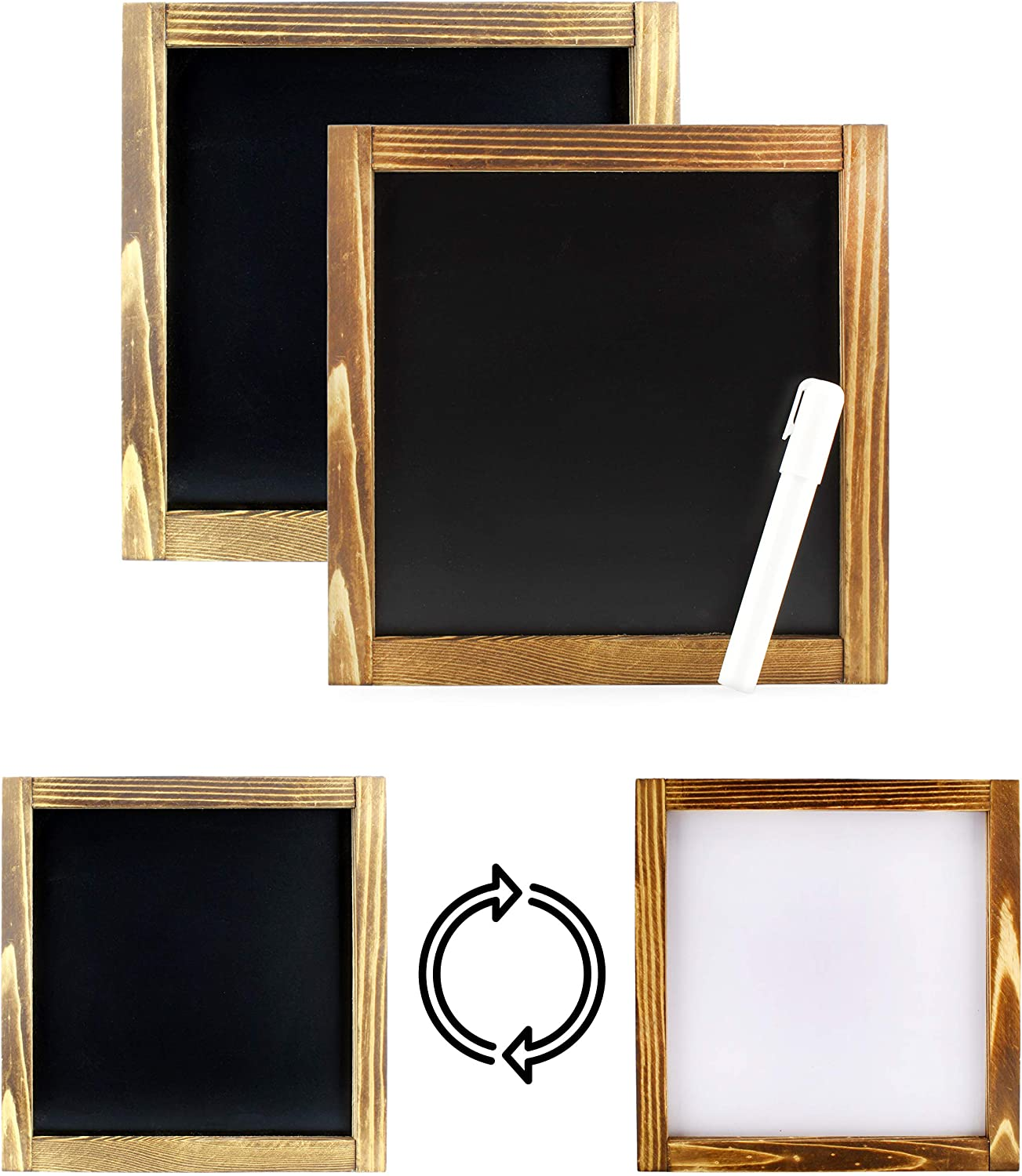 Decorae Reversible Blank Framed Signs (2-Pack), Black or White 2-Sided DIY Signs for Arts & Crafts, 10 x 10 Inches Square