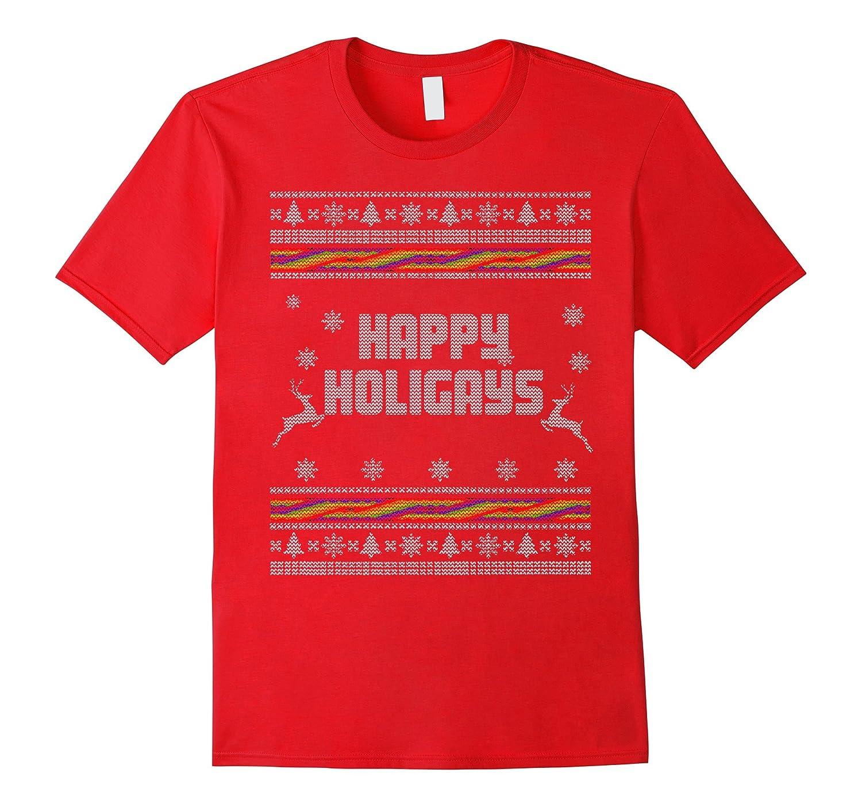 For Gay-LGBT Christmas T Shirt: Happy Holigays T-Shirt-Art
