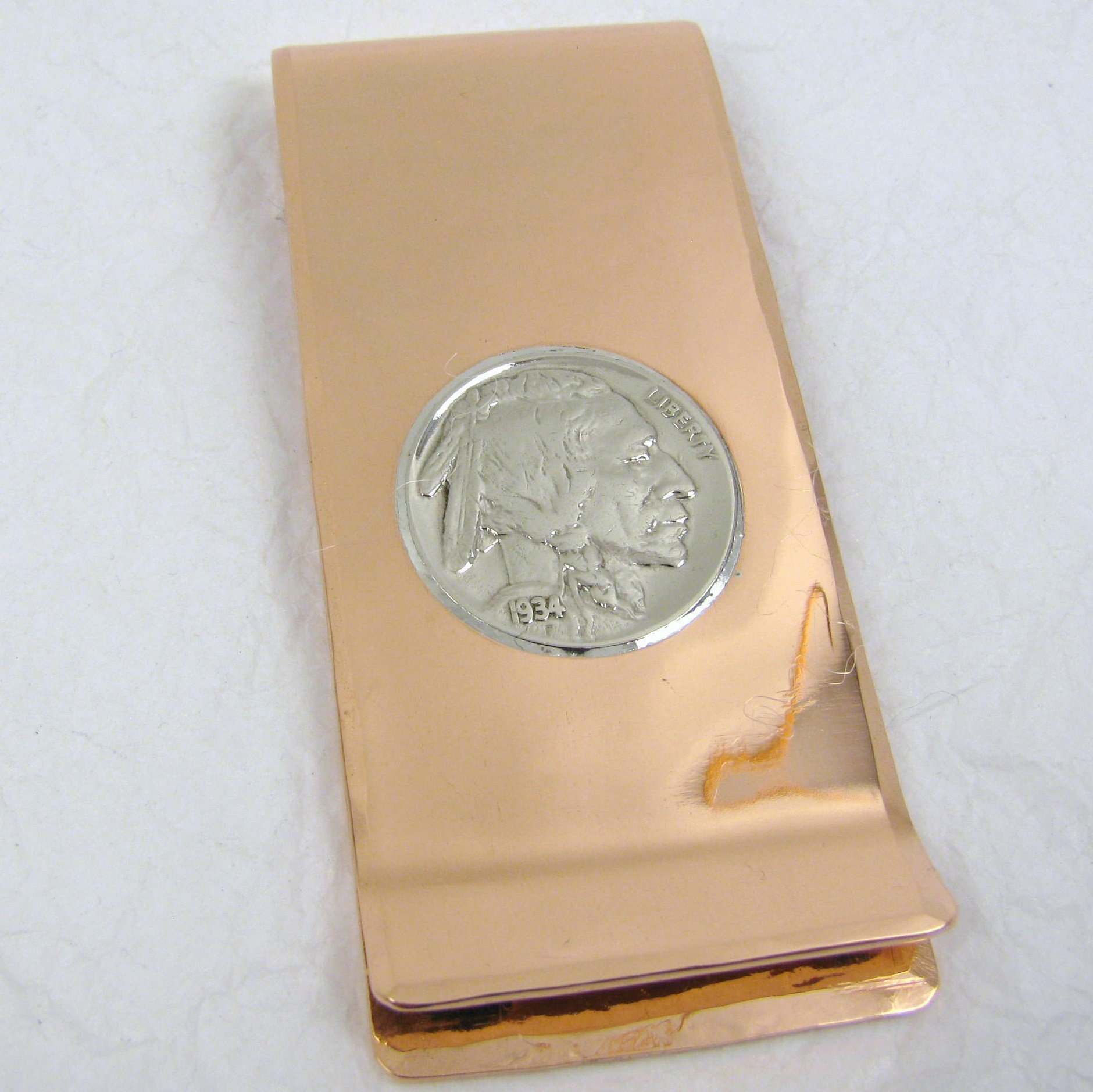 Copper Money Clip with Vintage Buffalo Nickel, Personalized Money Clip