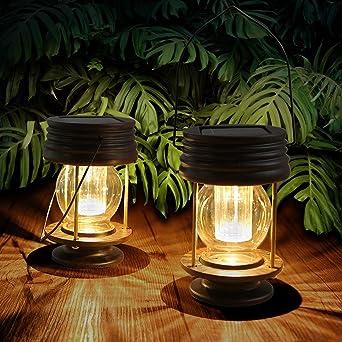 2 Farolillos Solares Exterior Solar para Decoración de Mesa, Luces LED para Exteriores, Estacas de Jardín, para árbol, Pabellón, Patio (Warm Light): Amazon.es: Iluminación