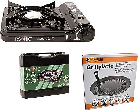 Estufa De Gas Camping Cocina con 8 Gas kar aplicar el rimel Portátil + Accesorio de Parrilla Bandeja del Grill + Maleta - Negro/Rojo/Gris/Azul