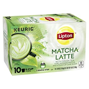 Lipton 1-Step Tea K-Cups Matcha Latte With 100% Rainforest Alliance Certified Green Tea 10 count
