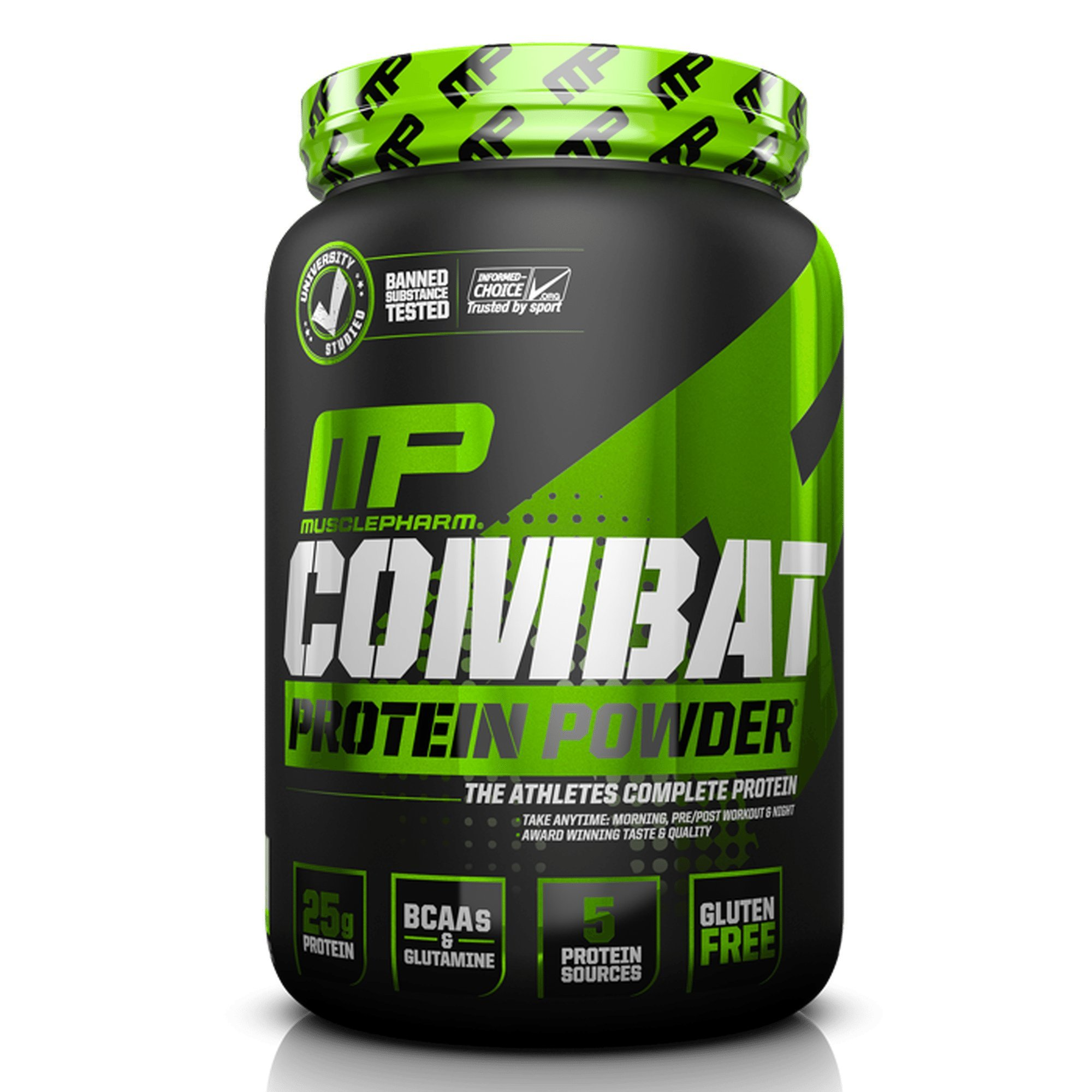 MusclePharm Combat Protein Powder, Essential Whey Protein Powder, Isolate Whey Protein, Casein and Egg Protein with BCAAs and Glutamine for Recovery, Vanilla, 2-Pound, 26 Servings by MusclePharm