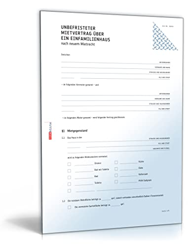 Mietvertrag Einfamilienhaus Doc Standardmietvertrag Für Ein Haus