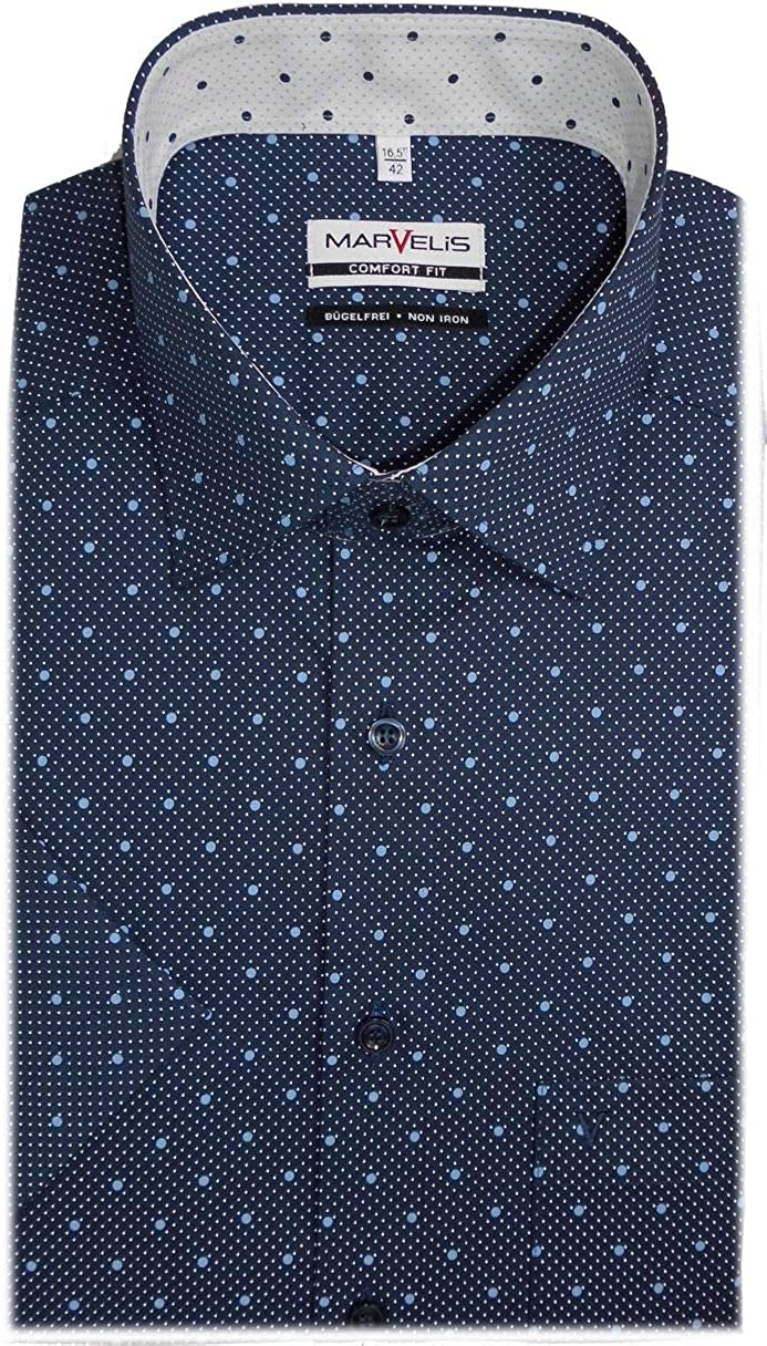 Marvelis 7104.52.18 - Camisa de manga corta, diseño de lunares, color azul marino azul 44: Amazon.es: Ropa y accesorios