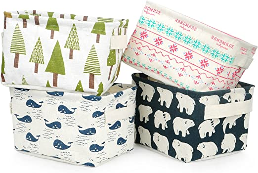 Miaro 4 Pack Canvas Storage Basket Bins Home Decor Organizers Bag for Adult Makeup Books Baby Toys Liners 4 Pack, Flamingo /& Bear