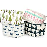 Cute Storage Bins,Zonyon Foldable Small Canvas Storage Baskets Organizers Mini Hamper with Handle for Nursery,Baby,Makeup,Toy,Keys, Office,Desk,4 Packs
