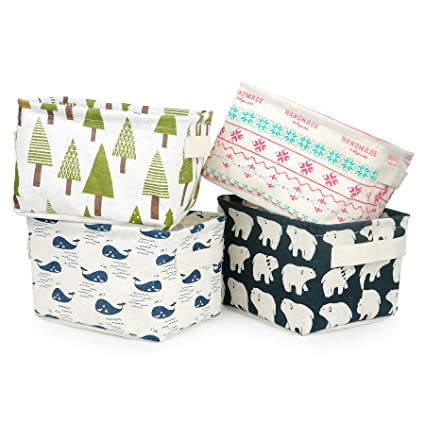 Superbe Cute Storage Bins,Zonyon Foldable Small Canvas Storage Baskets Organizers  Mini Hamper With Handle For