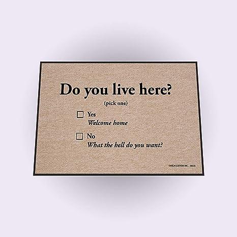 Amazon.com   High Cotton Do You Live Here Doormat   Welcome Mat ... a8e3c4ea34