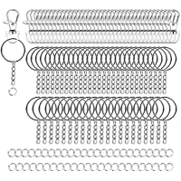 Livder 100 Pieces Metal Swivel Lanyard Snap Hook Lobster Claw Clasp, Keychain Rings with Chain and Open Jump Ring