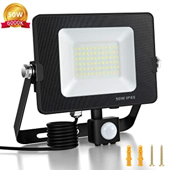 BEIEN 50W Foco LED Exterior con Sensor de Movimiento, Floodlight ...