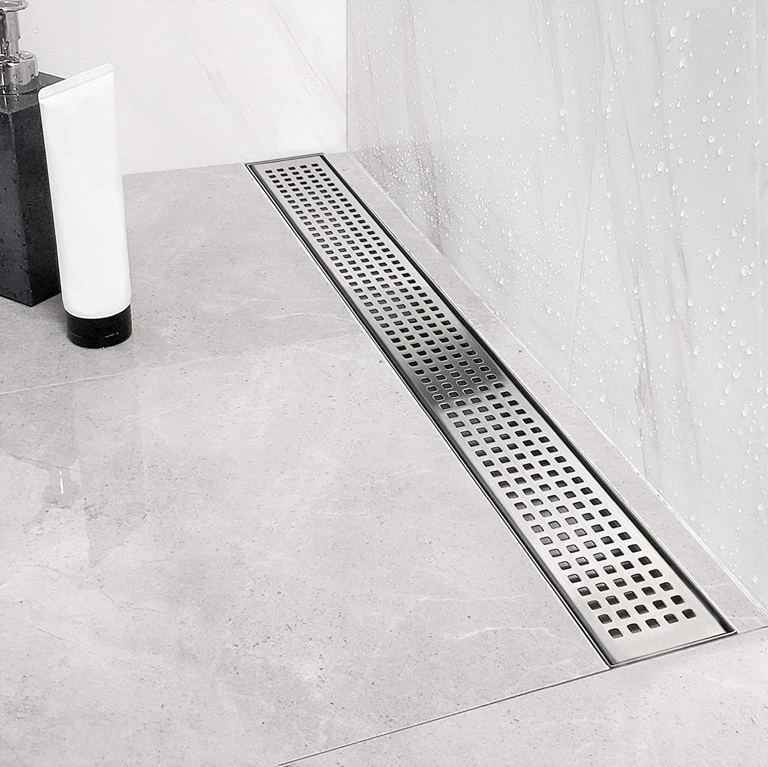 Neodrain 24 Inch Linear Shower Drain With Quadrato Pattern Grate Professional Brushed 304 Stainless Steel Rectangle Shower Floor Drain Manufacturer With Leveling Feet Hair Strainer Amazon Com