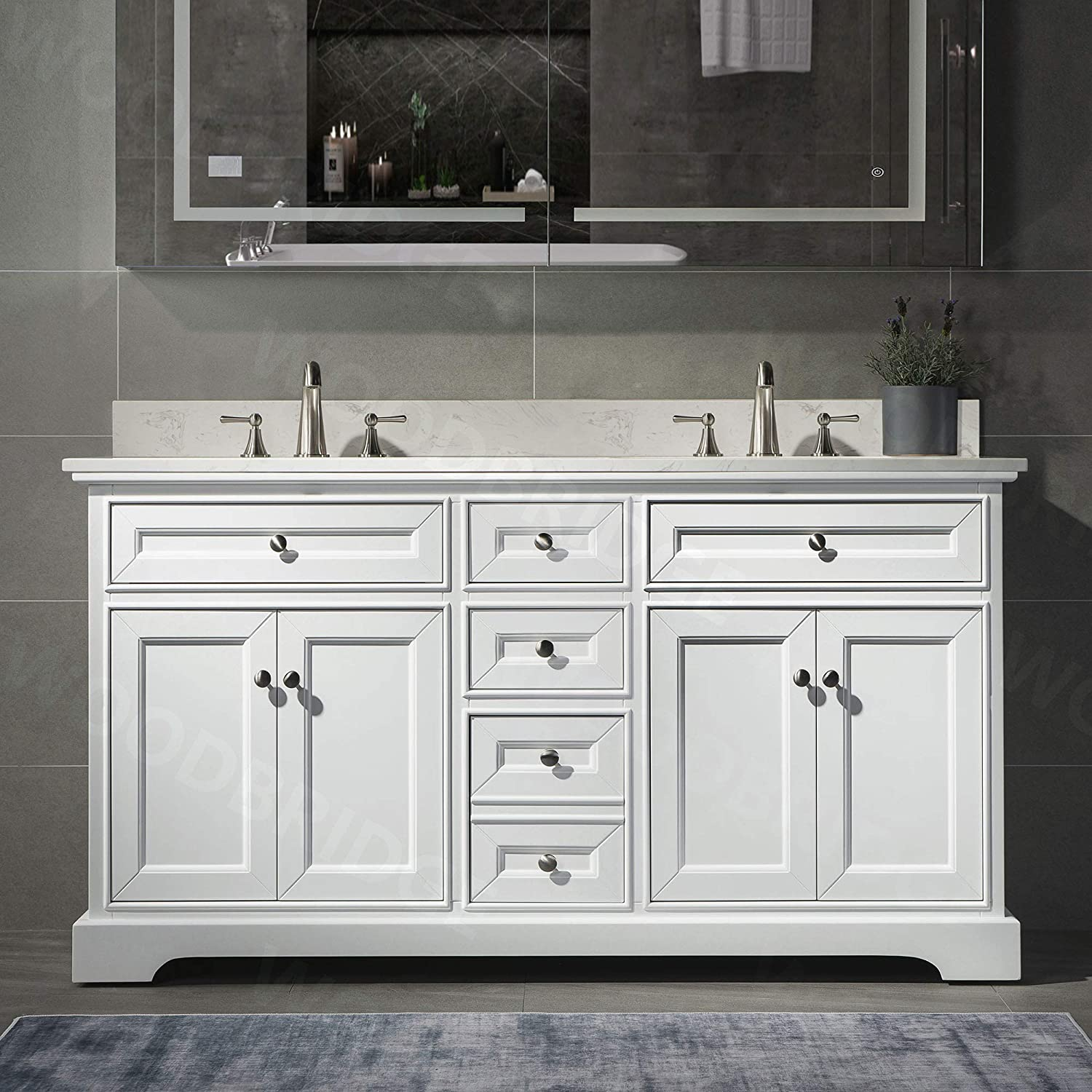 London 60 Bathroom Vanity With Engineered Quartz White Carrara Color Top 8 Faucet Holes Double Rectangle Undermount Sinks 4 Soft Closing Doors And 3 Full Extension Dovetail Drawers White Vanity Color Amazon Com