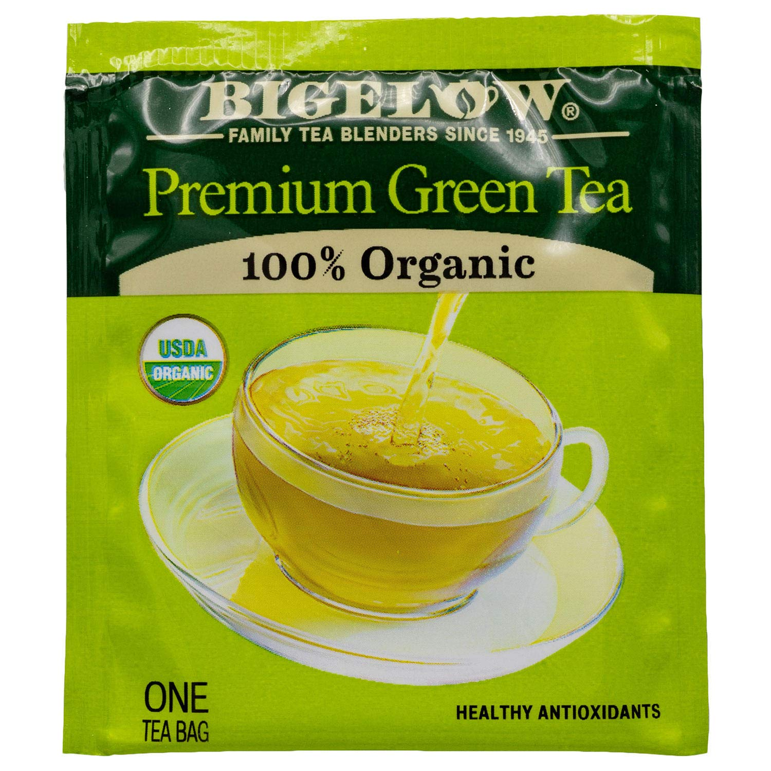 Bigelow Premium Organic Green Tea, 160 Count Box, Individually Wrapped Bags