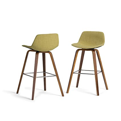 Admirable Simpli Home Axcran30N G Randolph Mid Century Modern Bentwood Counter Height Stool Set Of 2 In Acid Green Linen Look Fabric Pabps2019 Chair Design Images Pabps2019Com