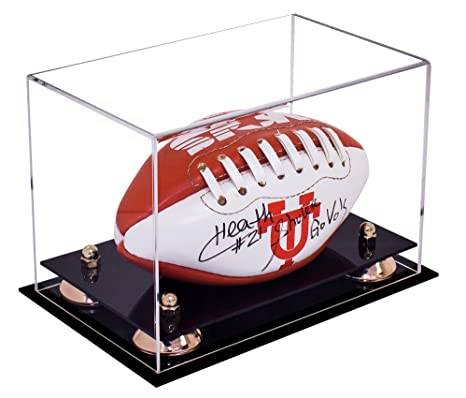 ff4db514857 Deluxe Clear Acrylic Mini - Miniature (not Full Size) Football Display Case  Gold Risers