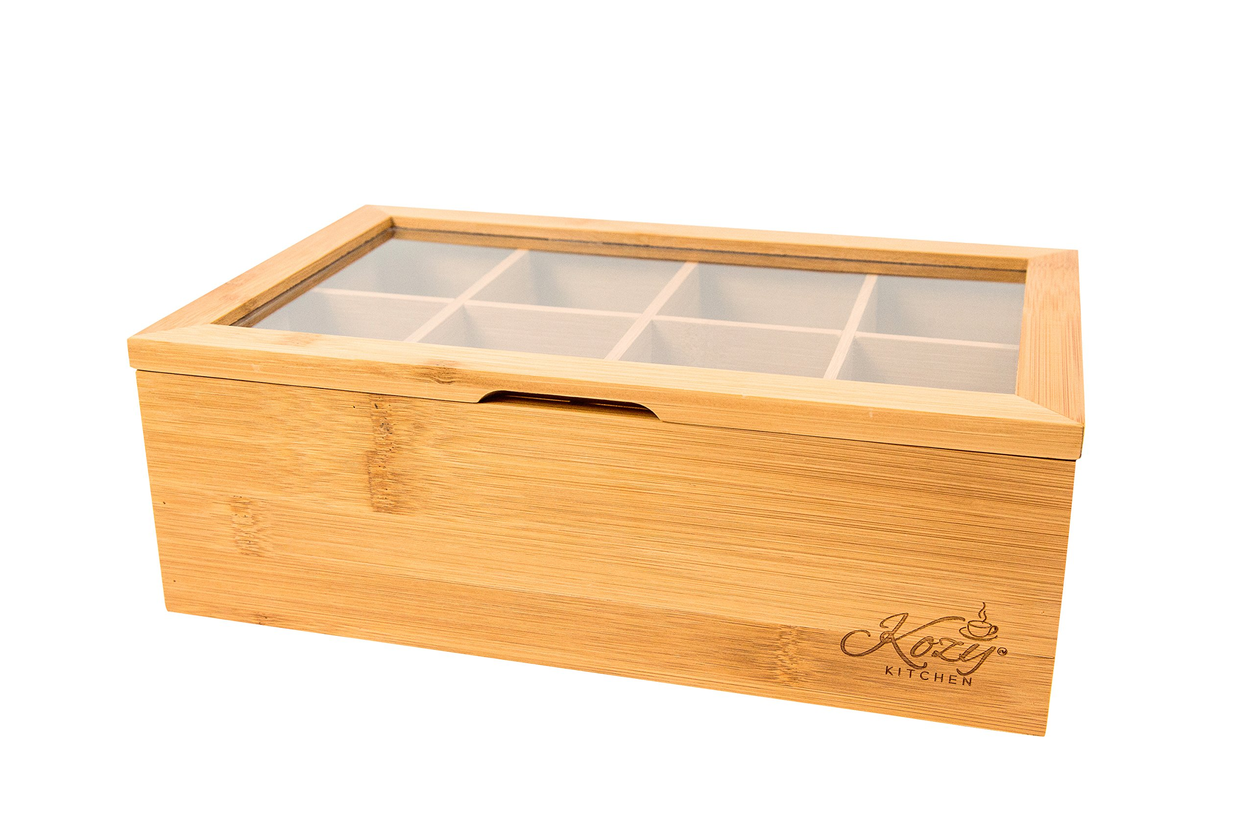 Bamboo Tea Box Storage Organizer, 100% Natural Wooden Finish Tea Bag Organizer 8 Storage Compartments and Clear Shatterproof Hinged Lid by Kozy Kitchen (Image #4)