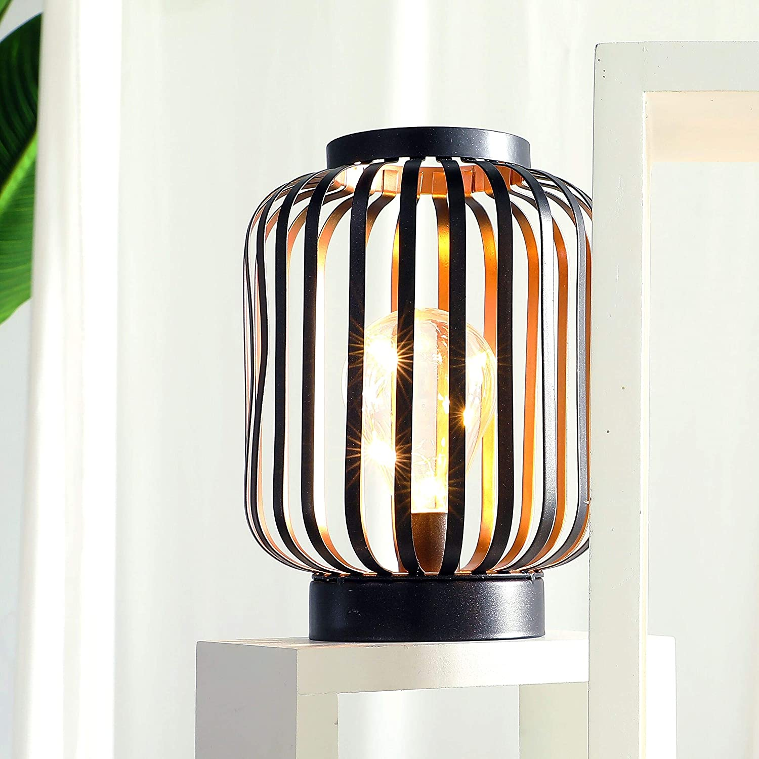 "8.7"" High Metal Cage Decorative Lamp Battery Powered Cordless Warm White Light with LED Edison Style Bulb Great for Weddings Parties Patio Events for Indoors/Outdoors"
