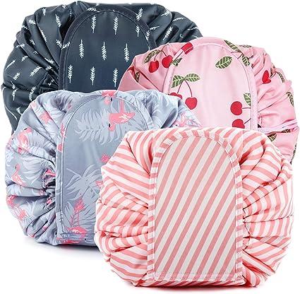 ANDERK 4 Pack Portable Lazy Drawstring Makeup Bags, Large Capacity Waterproof Travel Portable Fashion Drawstring Cosmetic Bag