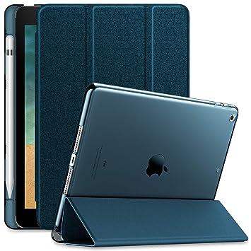 Infiland Funda para iPad 9.7 2018, Delgada Translúcido Case Smart Cover con Portalápiz Compatible para iPad 9.7 2018 Tableta(con Auto ...