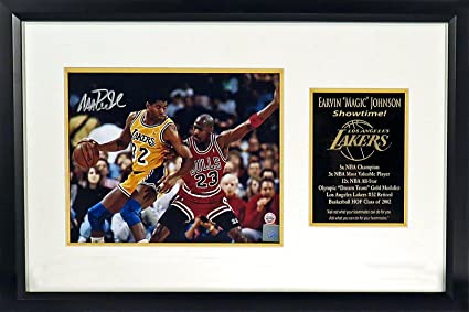 "63e4778dbd23 LA Lakers Magic Johnson Autographed ""vs. Michael Jordan"" 8x10 Photograph w   Floating"