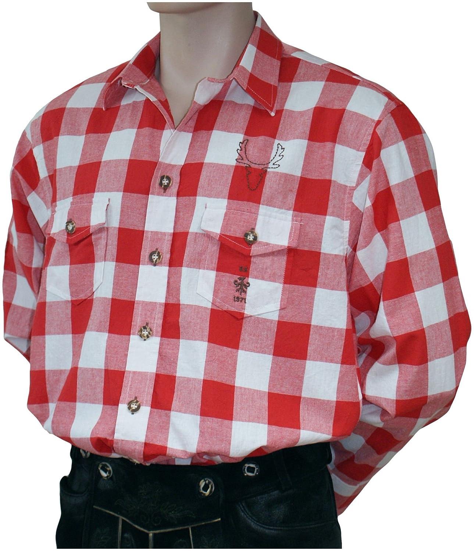 Gr.S-XXL Trachtenhemd Karo-Hemd Trachten-Pfoadl Holzfällerhemd rot-weiß Karohemd