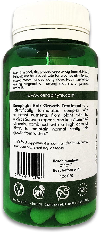 Keraphyte - Tratamiento Anticaída y Crecimiento del Cabello | con Extractos de Plantas Vitaminas y Minerales, con una alta dosis de Biotina | Vegano, ...
