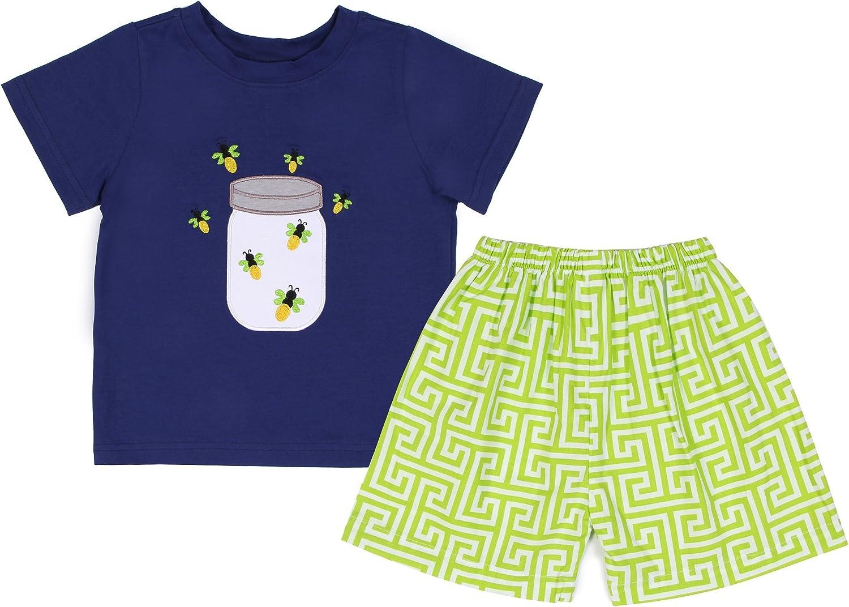 Babeeni Baby Boys Honey Bee T-Shirt and Shorts 2pcs Set 6Y Navy Green