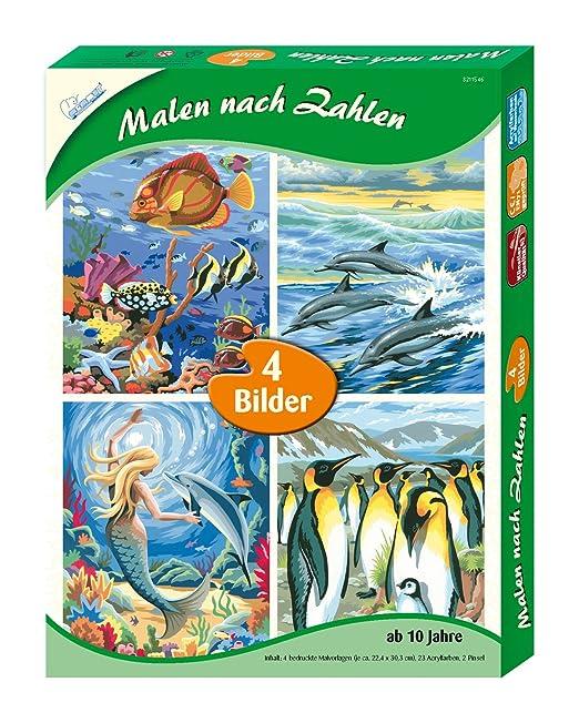 Amazon.de: Malen nach Zahlen 4er Set, Meeresrauschen, je Circa\