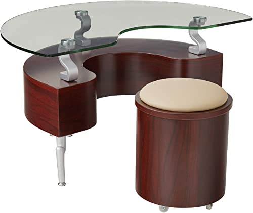 Global Furniture USA Occasional End Table with with Silver Legs, Mahogany Cappuccino