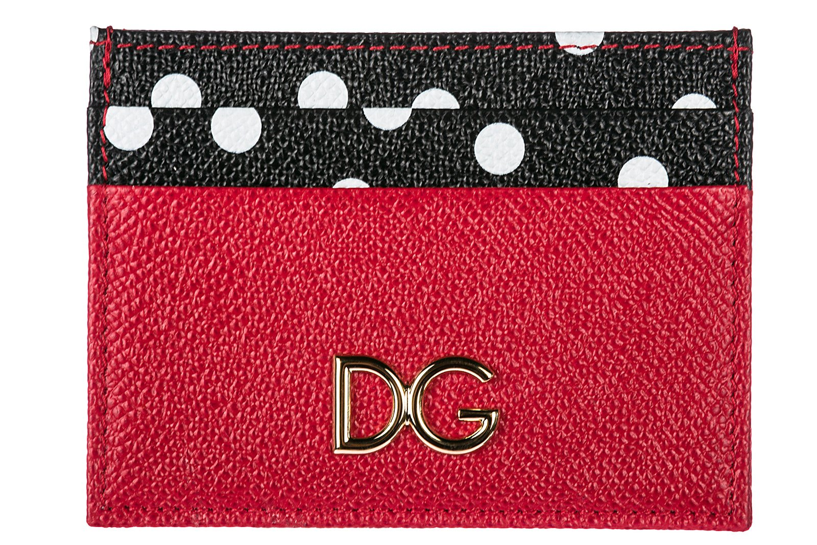 Dolce&Gabbana women's genuine leather credit card case holder wallet red