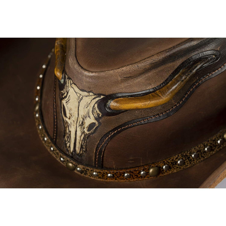 Cowboyhut Westernkleidung f/ür Damen oder Herren Westernwear-Shop Leder-Westernhut Stier schwarz oder braun