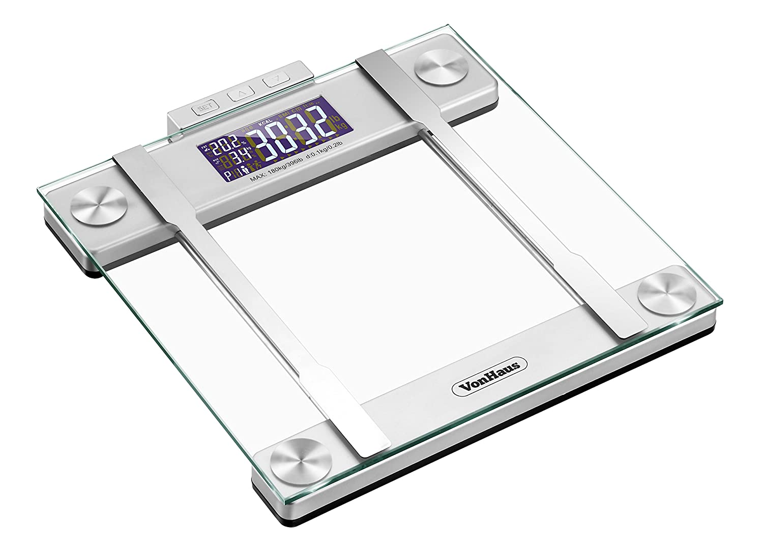 Amazon scale bathroom - Amazon Com Vonhaus Body Fat Scale Bmi Weight Scale With Body Composition Analyser Hydration Monitor 400lb Weight Capacity Silver Glass Bathroom Weight
