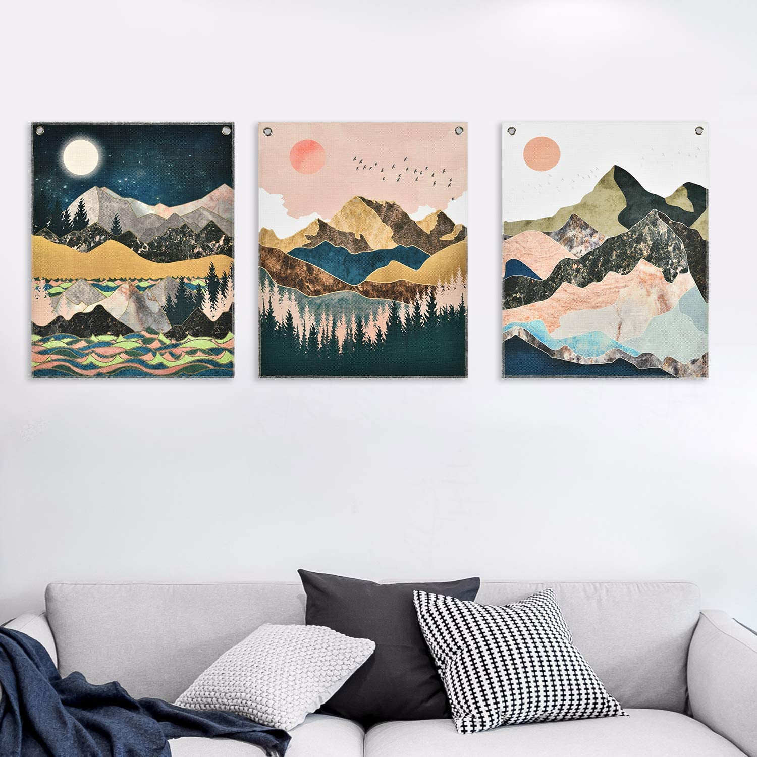 3 Piece Mountain Paintings Wall Art Prints, Sunset Forest Painting Print Art Nature Landscape Canvas Art Prints Mountain Wall Tapestry Wall Hanging with Seamless Nails for Room (16 x 20 inches)