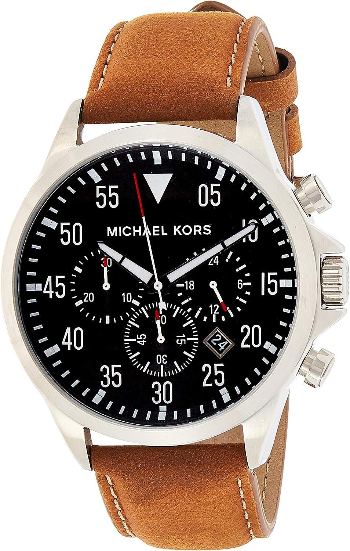 Michael Kors Gage - Reloj análogico de cuarzo con correa de cuero para hombre, color marrón/negro